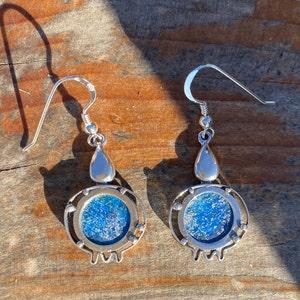 Rimmon 925 Silver  Earrings Blue Roman Glass Pomegranate Sterling Silver Dangle Earrings Roman Glass Judaica Jewelry Israel Gift