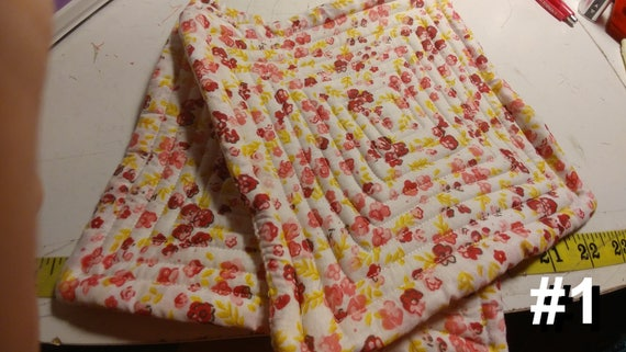 CHARITY (White with red and yellow flowers HOT PAD set of 2 #1)
