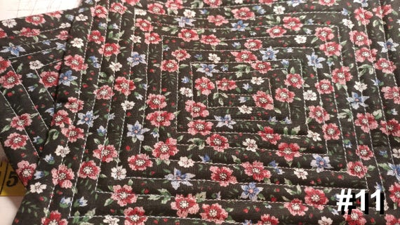 CHARITY (Black with red & white flowers HOT PAD set of 2 #11)