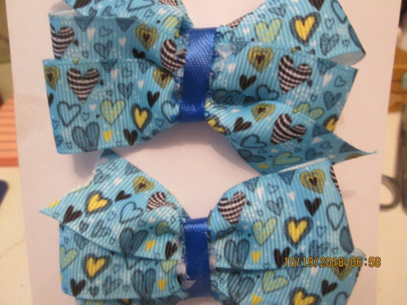 Hearts in blue barrette set