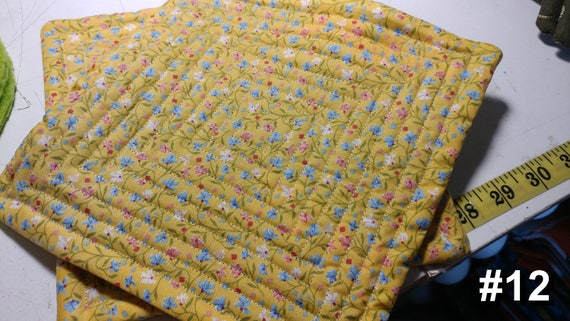 CHARITY (Yellow with blue & pink flowers HOT PAD set of 2 #12)