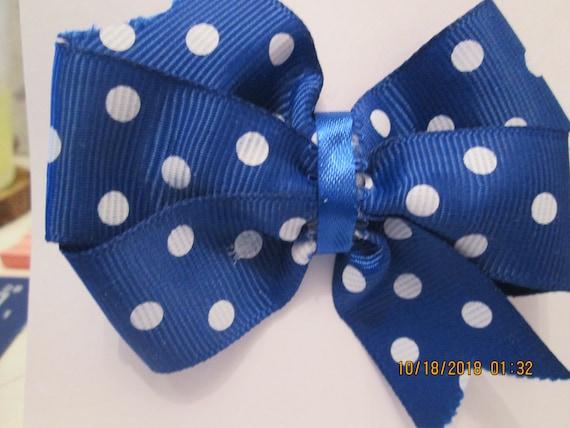 Blue Polka dot barrette