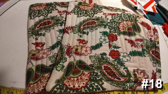 CHARITY (White with green & red paisleys HOT PAD set of 2 #18)