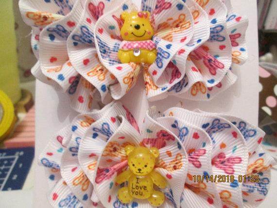 Teddy bear barrette set
