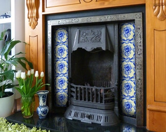Hand painted tiles. Blue and white ceramics. Fireplace. Bathroom. Kitchen. Home decor