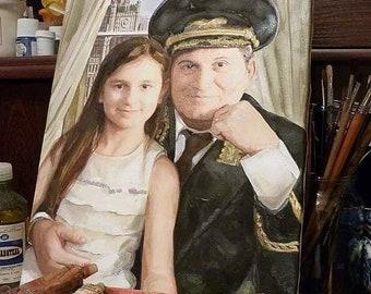 Custom portrait on canvas by artist Lana Arkhi RMS, oil or acrylics