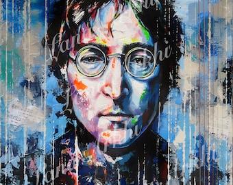 John Lennon Original acrylic painting on deep edge canvas 51 x 61 cm by Lana Arkhi RMS