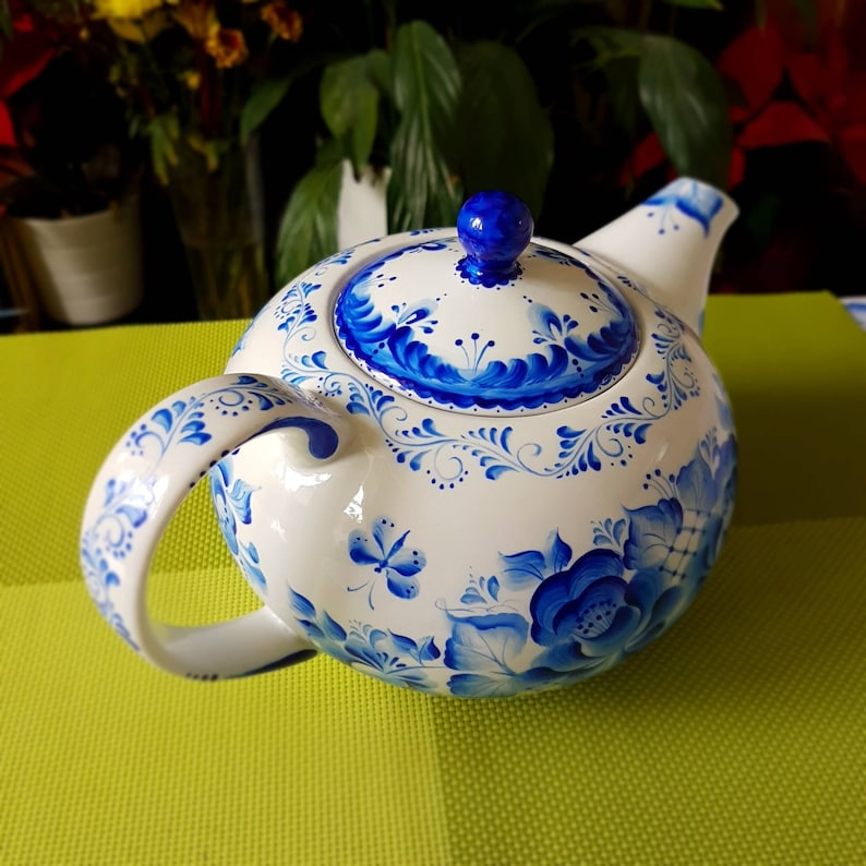 Gorgeous TEAPOT blue and white china 1L hand painted porcelain Gzhel style