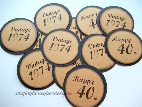 Milestone Birthday Gift Tags Favor Party Happy 40th Vintage 1978