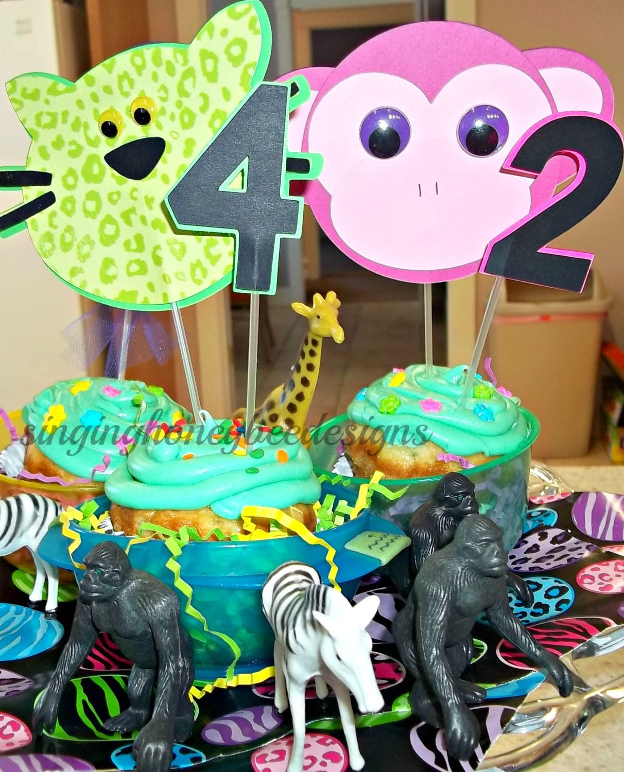 Jungle Cake Topper Zoo Safari Animal Smash