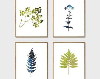 Botanical Print Set of 4 -  Floral Art Set, Botanical Poster Set, Fern Art, Leaf Print, Watercolor Flowers, Nature Artwork, Set of 4 Prints