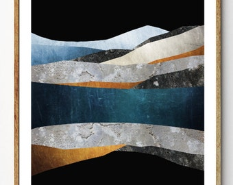 Surreal Nature Wall Art, Mountain Art Print, Scandinavian Art, Abstract Painting, Ocean Art, Geology Gift // Arctic Reflections