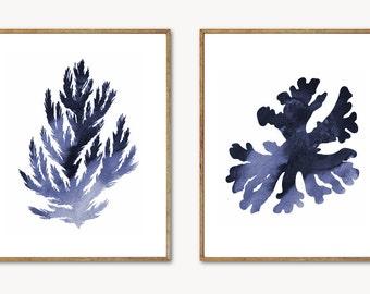 Blue Coral Wall Art - Coral Print Set, Beach Decor, Seaweed Print, Coral Art, Nautical Decor, Ocean Decor, Watercolor Coral Painting