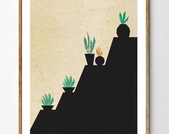 Succulents no.2 - Cactus Print, Botanical Print, Succulent Art Print, Floral Art, Art Deco Poster, Minimalist Art, Mixed Media