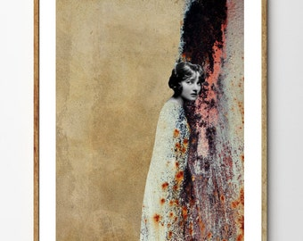 Melancholia - Mixed Media Collage Art, Portrait Painting, Vintage Art, Vintage Photograph, Vintage Women