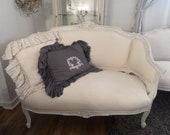 Stunning Antique French Louis Xv Ornate Carvings Cream Linen Settee Shabby Chic