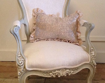 Antique Ornate Carvings Louis XV Wood French Chair Roses Gorgeous Velvet