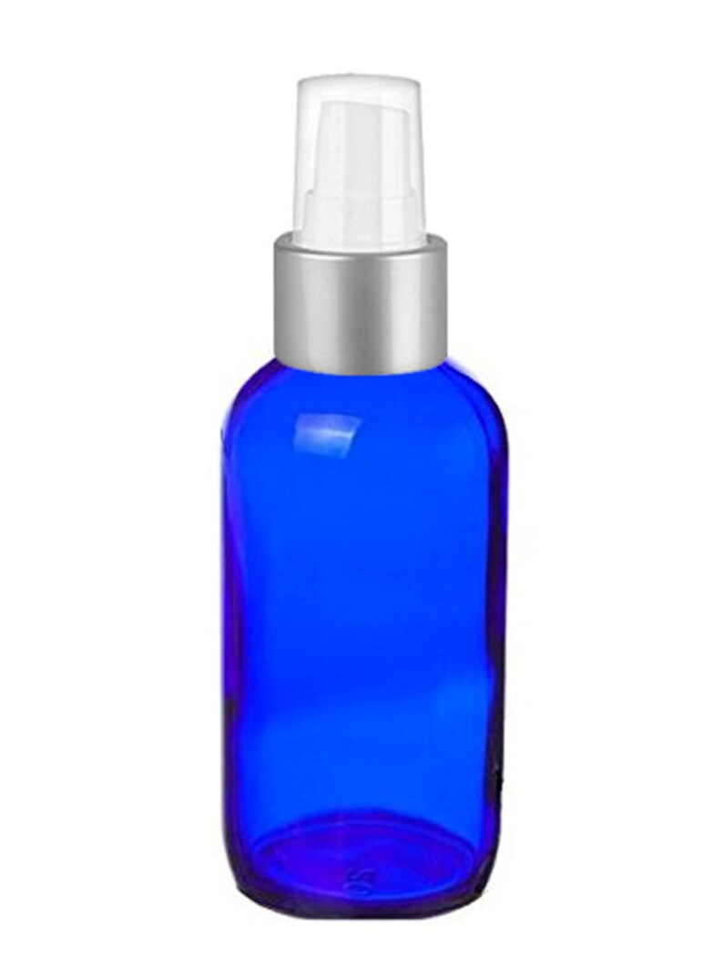 edd7bba87075 Cobalt Glass 4 Oz Spray Bottles - Set of 4 Blue Glass Spray Bottles with  Brushed Silver Sprayer Tops - Use For Essential Oils and More