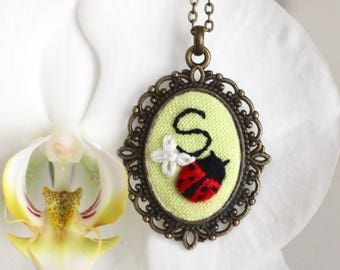 Personalized embroidered initial necklace with ladybird Monogram necklace Gift for Christmas Custom necklace Ladybird necklace For sister