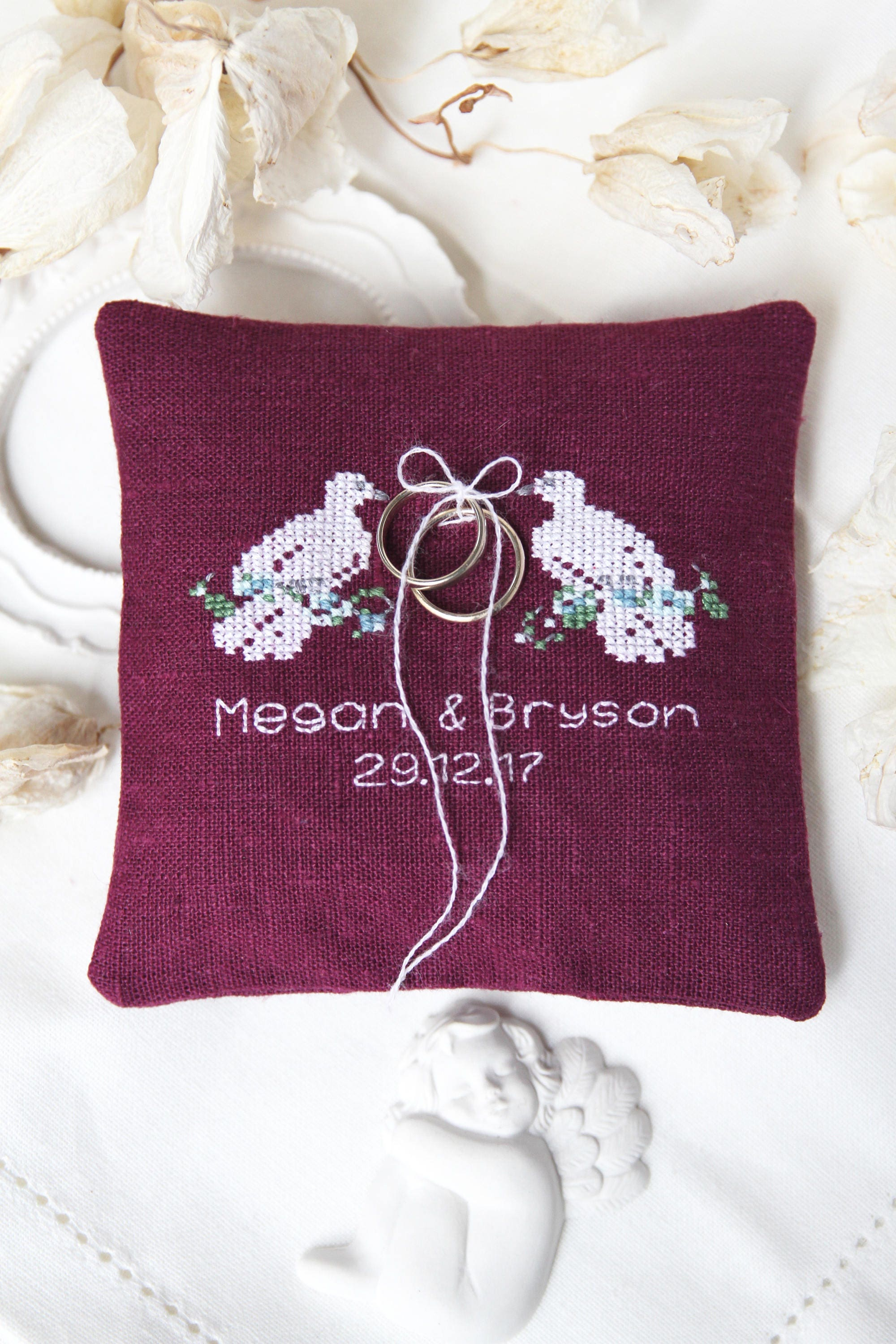 embroidered wedding rings pillow with doves rings cushion
