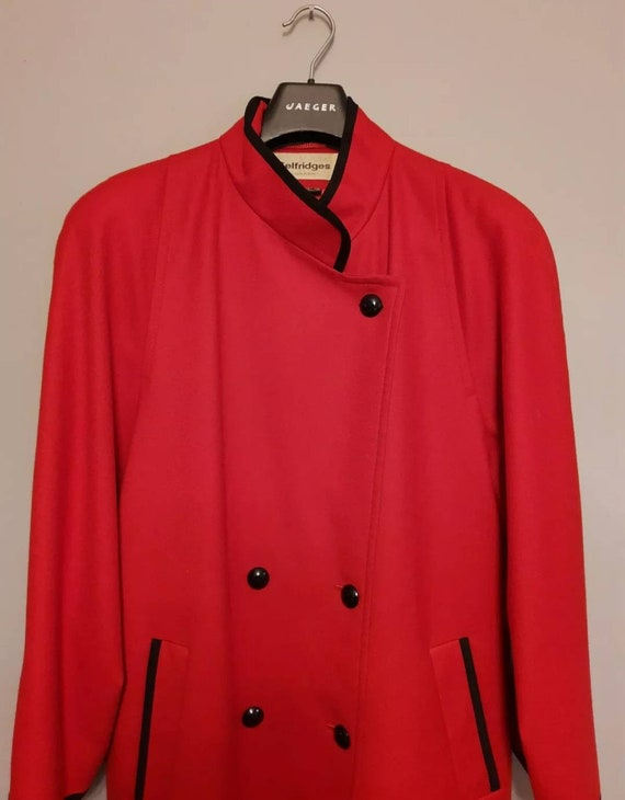Beautiful 80's red wool full length military coat