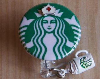 Starbucks Coffee Nurse Badge Reel-ID Holder with Starbucks Charm- Nurse Badge Reel-Retractable Holder-Name Badge Holder-Starbucks Coffee