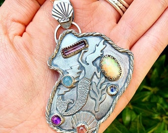 Sterling and Gemstone OOAK Mermaid Bolt Pendant