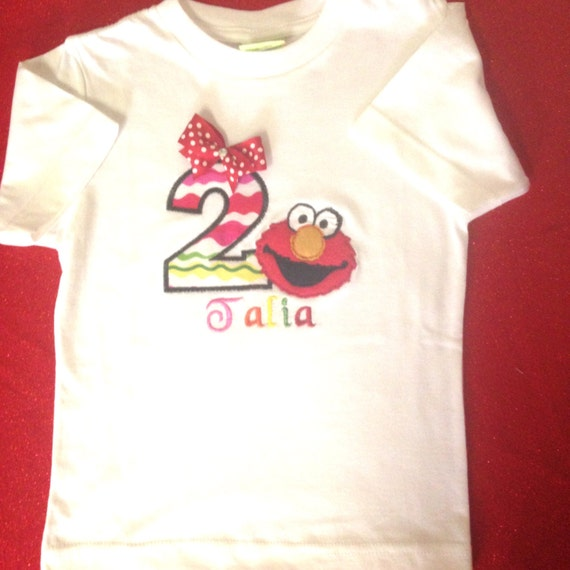 2nd Birthday Shirt Talia Elmo Theme