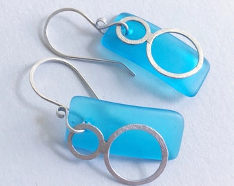 Blue sea glass and silver circles earrings