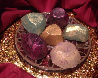 Idaho Soap Jewels, Diamond Cut Hand Milled, Hand Painted in Cosmetic Safe Mica Colors, Holiday Soap Gems