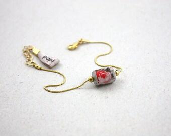 Bracelet Soo chaine fine Doré perle papier motif fleur rose