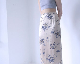 90s Floral and Champagne Satin Midi Skirt