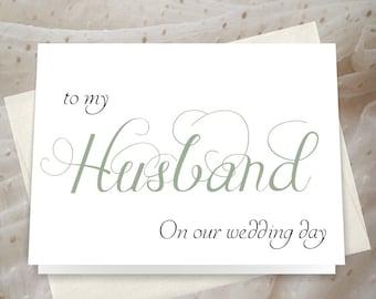 Wedding Day Card Groom - custom colors - Groom Card - handwritten love note _ JS10