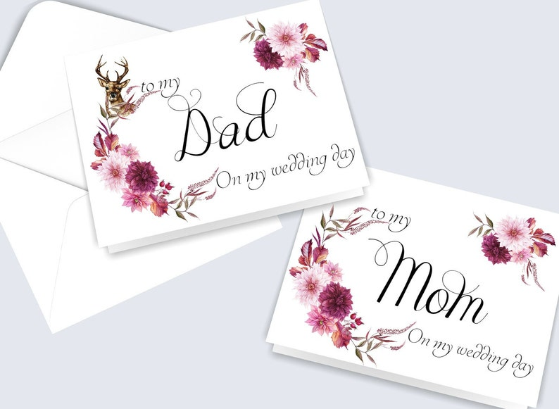 parents of the bride card Card to parents wedding day card to my mom card to my dad card parents of the groom card Set of 2