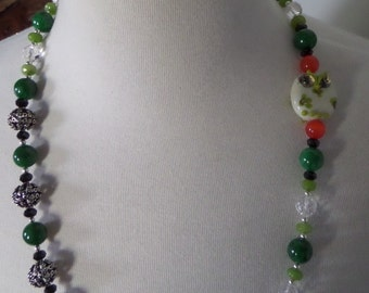 Emerald, Peridot and Carnelian Necklace with a little Whimsy; Handblown Owl