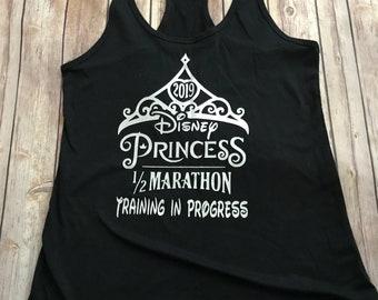 2019 Princess in Training 13.1, 5K, 10K, glass slipper fairy tale challenge, Disney half marathon training in progress Womens Tank Top