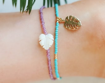 Golden Turquoise & Monstera Palm Leaf Charm Anklet