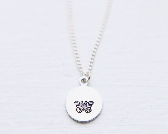 Dainty Hand Stamped Butterfly Necklace