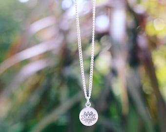Lovely Lotus Flower Hand Stamped Necklace