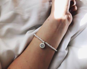White Opal Hand Stamped Lotus Flower Beaded Bracelet