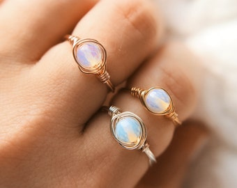 Mini wire wrapped opalite rings
