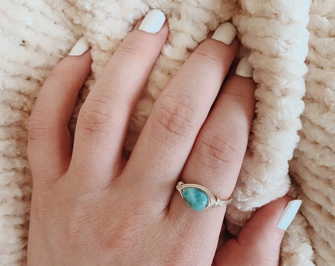 Larimar Gemstone Nugget Wire Wrapped Ring