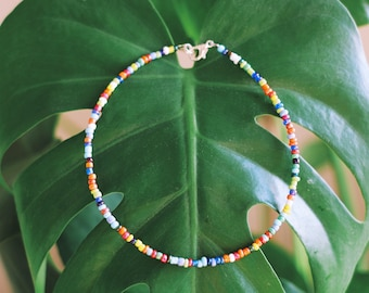 Rainbow Luster Seed Beaded Anklet