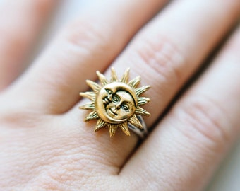 Gold Sun and Moon Adjustable Ring, Midi Rings, Silver Plated, Celestial Rings