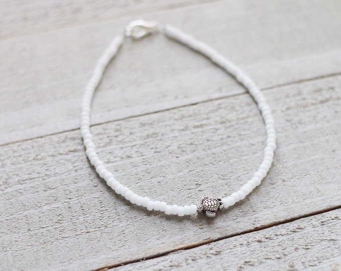 Frosted Coconut White Sea Turtle Anklet