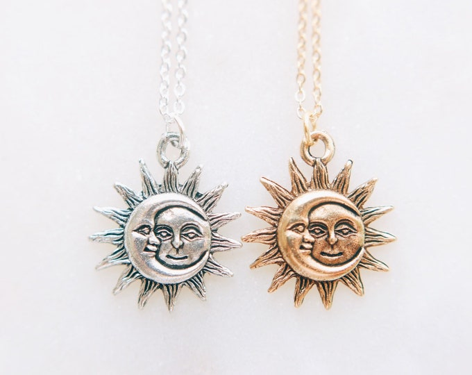 Dainty Sun & Moon Necklace