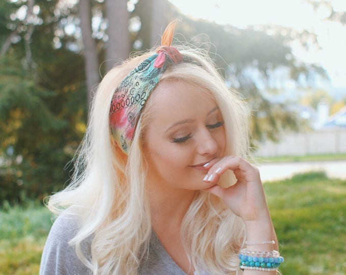 Vibrant Tie Dye Bandana Head Wrap in Rainbow