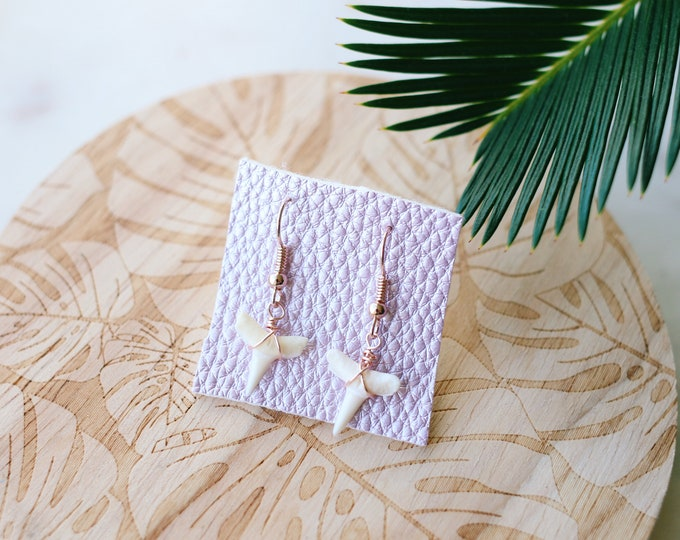 Rose Gold Wire Wrapped Shark Tooth Earrings