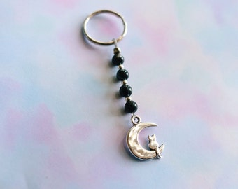 Kitty On The Moon Marble Beaded Keychain