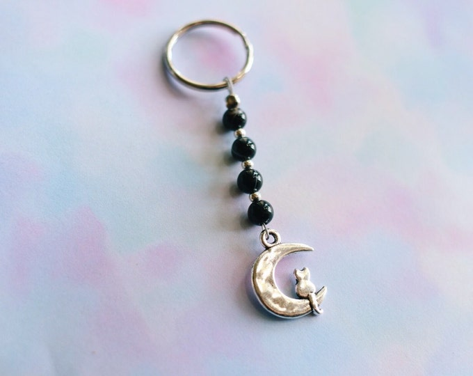 Kitty On The Moon Marble Beaded Keychain